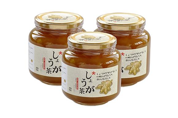 しょうが茶1000g3本セット:スライス生姜たっぷりのはちみつ漬けタイプ(ジンジャーティー)