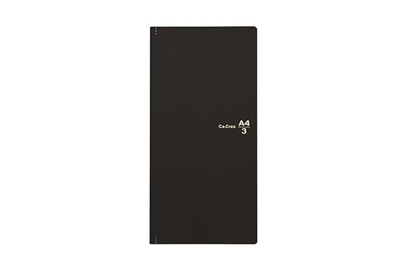 プラス メモ帳 ノート カ.クリエ A4×1/3 プレミアムクロス マットブラック 77-926