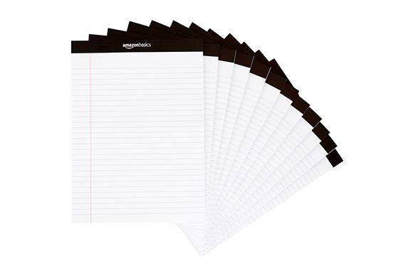 AmazonBasics メモ帳 リーガルパッド レターサイズ 12冊 各50枚 ホワイト