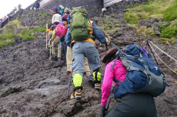 登山中の集団