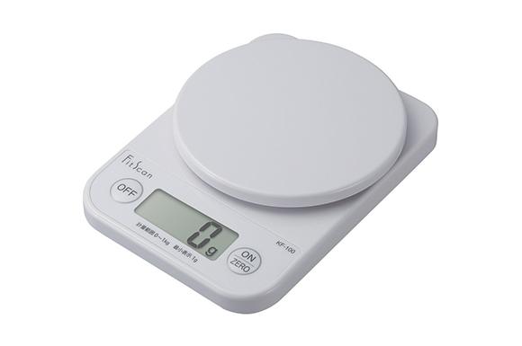 タニタ デジタルクッキングスケール フィットスキャン (1kg/1g) ホワイト KF-100-WH