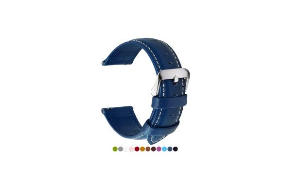 全12色Smart watchバンド Fullmosa Axus Series Smart 時計バンド 腕時計ストラップ 本革ベルトFor Samsung Gear S2,Moto 360,Huaweiスマートウォッチベルト 交換ベルトステンレス ラグ付き 22mm紺青