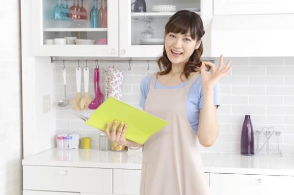 キッチンでOKサインをする女性