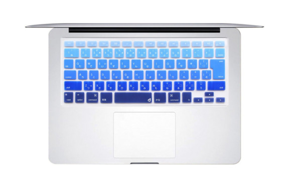"MasinoR Japanese Charactar Silicone Keyboard Cover Ultra Thin Keyboard Skin for Japan VERSION MacBook Air 13"" MacBook Pro with Retina Display 13""15"" 17"" DO NOT FITS FOR EUROPE US CHINESE VERSION Mac (1 pcs keyboard cover, Gradient-Deep Blue)"