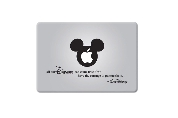MacBook 対応 アートステッカー ウォルトディズニー 勇気を持って追えば全ての夢は叶う Quote All our Dreams... (11, 12, 13 or 15 インチ Macbook, Air Pro Retina 対応) 並行輸入品