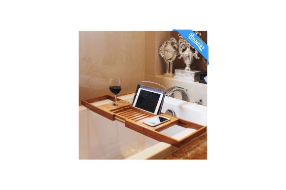 バスタブトレー バスタブラック バステーブル 【ブックスタンド&防水クロース付き】 お風呂用 バスグッズ 伸縮式 (70-106)x22x4cm 竹製 BT01 HANKEY