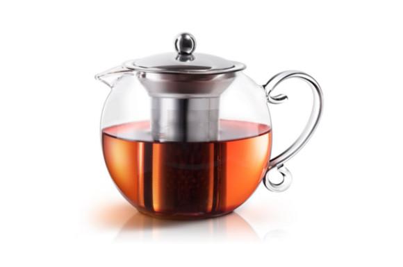 E-PRANCE ティーポット 耐熱ガラス 宮廷風 ハンド式 丸い形 紅茶 緑茶 急須 茶こし付き 電子レンジにも対応 家庭 お店用 大容量 1200ml
