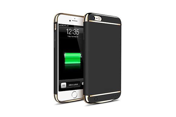 KYOKA iPhone6 iPhone6s バッテリー内蔵ケース 3パーツ式 軽量 超薄 バッテリーケース 大容量 急速充電 ケース型バッテリー (iPhone6/6s, ブラック)