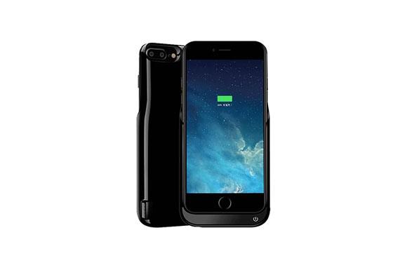 DUTISON iPhone 7 4.7 モバイルバッテリー 大容量5500mAh スマートフォン バッテリーケース 薄型 軽量 急速充電 (ブライトブラック)