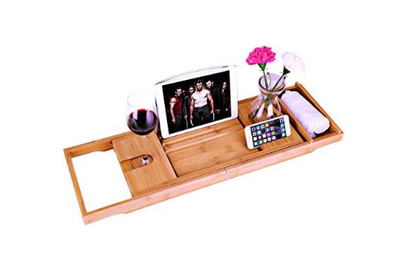 Bossjoy 贅沢な竹バスタブキャディーの浴槽のトレイに延びる側面ブックタブレットホルダー携帯電話のトレイと統合したワイングラスホルダーと他のアクセサリーの配置に建てられた