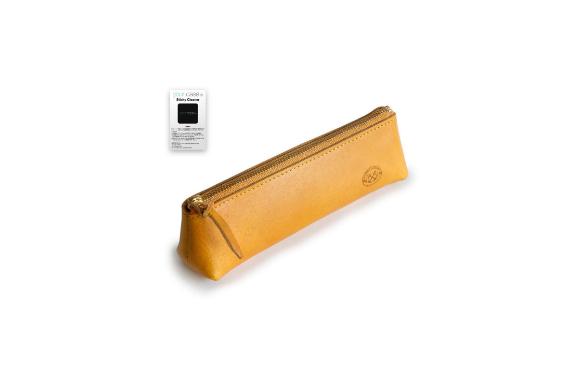TEMPESTI 共に成長する 本革 イタリアン ヴァケッタ レザー ペンケース【your case Sticky Cleanerセット】(GIALLO)