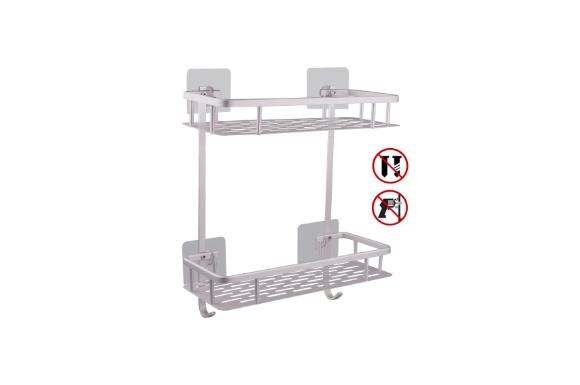 Hawsam シャワーラック 穴あけ必要無し 風呂場に置く物置 アルミ 二階構造 シャワー用物置 水切りラック
