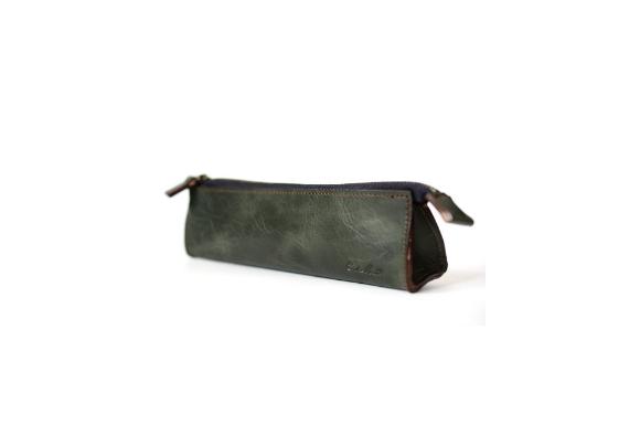 エンドマーク ペンケース 日本製 革 軽量薄型 モスグリーン