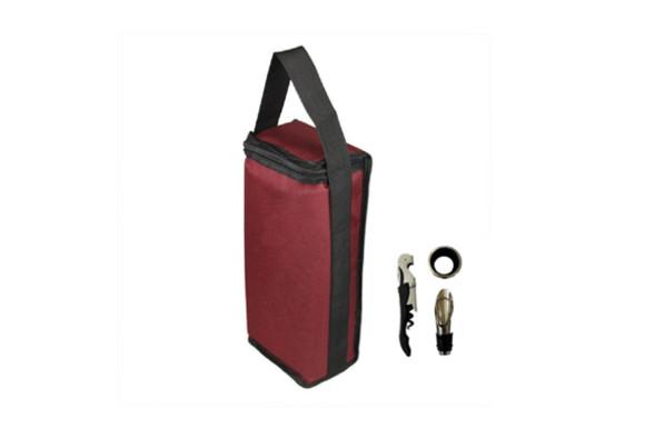 ワインバッグ 布 2本用 保冷 断熱 ボトルバッグ オープナー ストッパー ドリップリング セット
