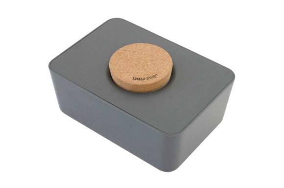 ウエットティッシュホルダー コルク&シリコン 単品 (チャコールグレー, コルク蓋-単品)