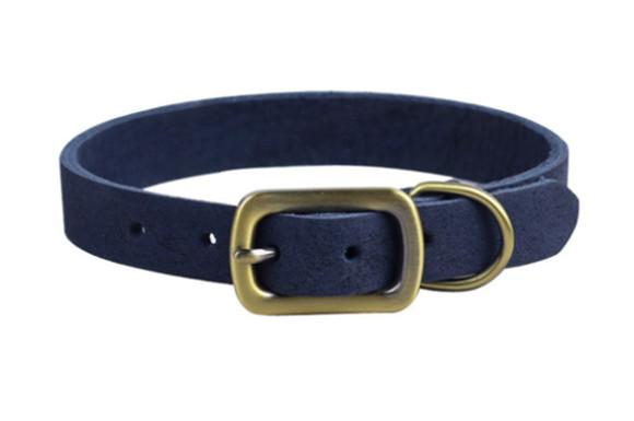 Rantow ラントーポリッシュ、丈夫な革のペット用襟、小型犬、首のサイズ24-30 cm、幅1.5cm、超強力なソフト本物の革の子犬キティの首輪 (青)
