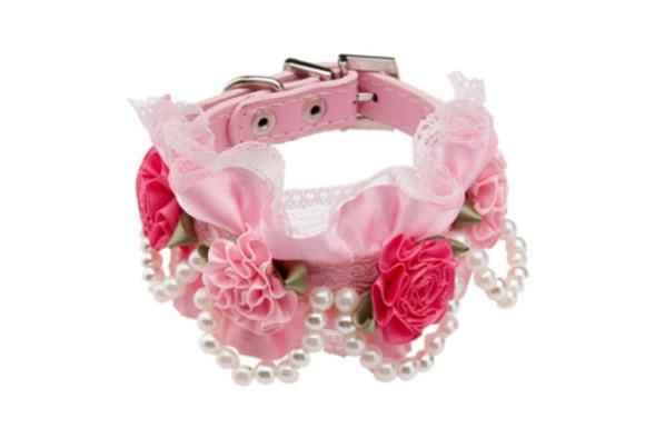 Outfun ペット 犬 猫 子犬 首輪 ネックレス 花 レース 襟 ベルト 3色2サイズ選べる - ピンク, S