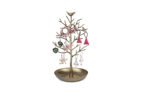 アンティーク風 小鳥がとまる 美しい ツリー型 アクセサリー スタンド ネックレス ピアス イヤリング も 収納できる おしゃれで かわいい ジュエリースタンド プレゼント にも大人気 (ゴールド)