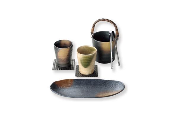 釉変り 焼酎セット(氷入 1個、長皿 1枚、カップ 2個、トング 1個、コースター 2枚) AM-MB28415