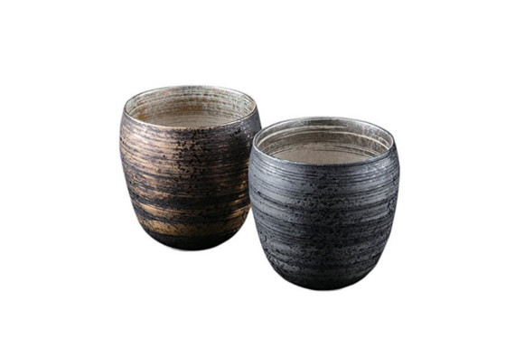 タンブラー : 有田焼 金銀刷毛 ペア焼酎カップ(370cc) Japanese Pair Cup Porcelain/Size(cm) Φ9x9/No:660897