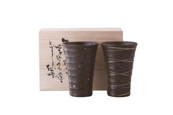 焼〆金彩 焼酎カップ ペア 11-52-61