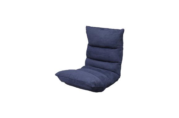 座椅子 低反発 14段階リクライニング スウェード生地 極 ネイビー FC-560B