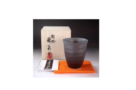 有田焼陶器 窯変プラチナ彩焼酎カップ|贈答品|記念品|ギフト|プレゼント|陶芸家 藤井錦彩
