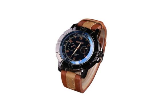 Timsa 時計 クォーツ腕時計 Watch メンズ腕時計 ウォッチ 本革 ローマ数字 薄型 軽量 便利 時間記録 釣り ハイキング 登山 狩猟 通学用)