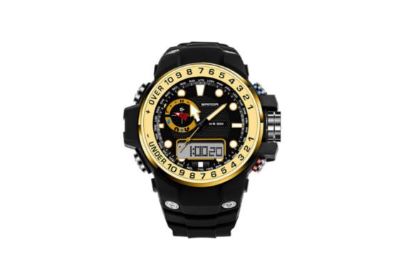 bestjpshop 3ピン多機能3ピンデュアルディスプレイコールドオプトエレクトロニック腕時計アウトドア登山ギフト用腕時計(ブラック+ゴールド)