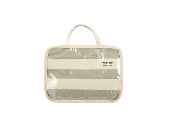 L'ABSURDE スパバッグ 『温泉旅行や銭湯に』 帆布ボーダー グレー TH-073