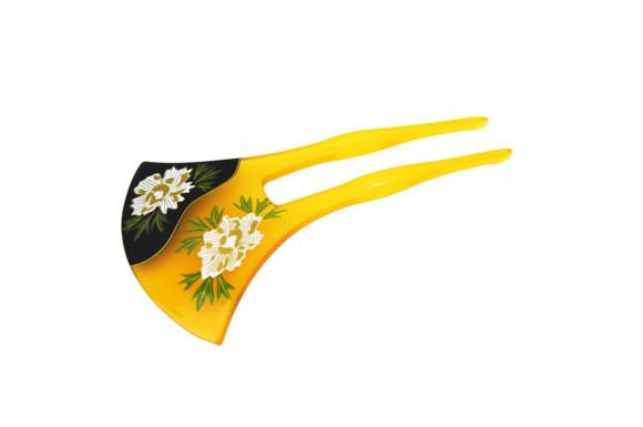 明理華堂 かんざし べっこう風 バチ型 小菊柄 髪飾り 和服 着物 浴衣 振袖