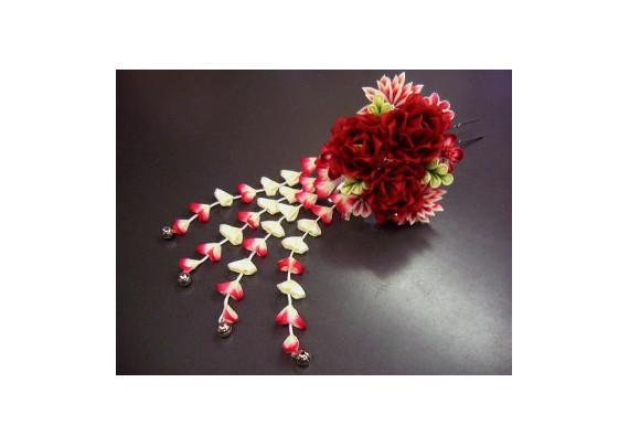 振袖&袴に舞妓風花珠ダラリ髪飾り(かんざし)薔薇赤