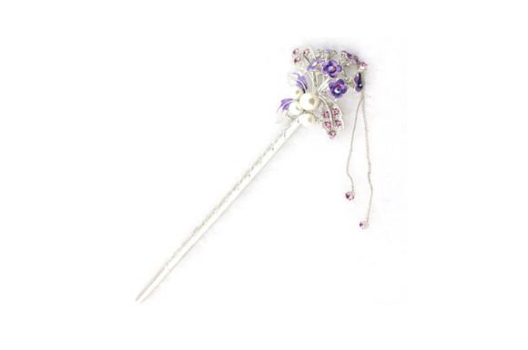 [ミャオミャオ] Miaomyao 簪 かんざし 髪飾り 和装 一本 パール ビジュー 花 フラワー 花束 ブーケ ヘアアクセサリー ピンクゴールド (パープル)
