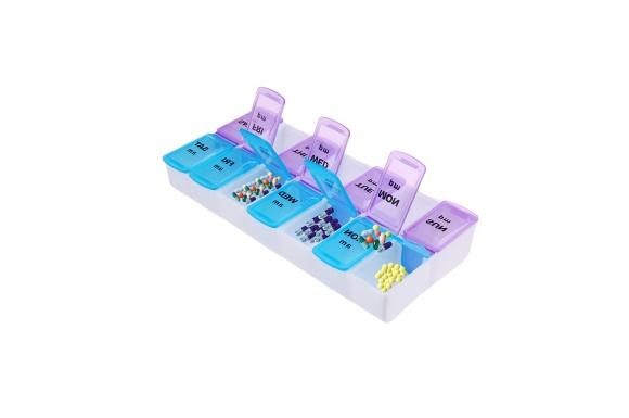 Mro-cat ピルケース 薬ケース 薬入れ くすり整理ボックス 1週間分(1日2回) 透明 硬質 プラスチック 薬を飲み忘れ防止のように