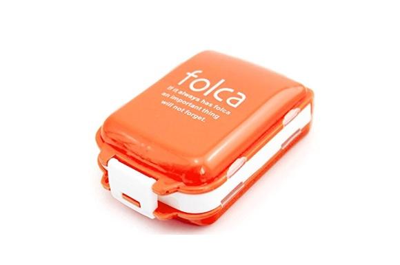 お出かけに便利なお薬ケース 携帯 3段分割 ピルケース 常備薬をコンパクトに収納 (オレンジ×ホワイト) ノーブランド
