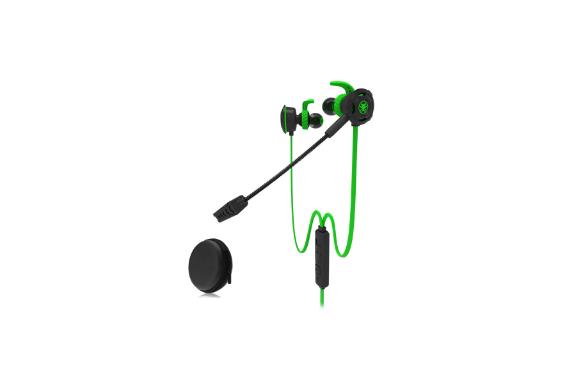 Plextone ゲーミングイヤホン 有線 高級 高音質 ゲーム用 ゲーム向け カナル型 日本語説明書 ps4対応 音楽 通話 PC用二股ジャック付属 フラットケーブル イヤフォン ウィンターキャンペーン (緑)